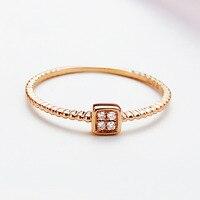 Одноцветное AU750 розовое золото площади 0.032CT кольцо Обручение кольцо
