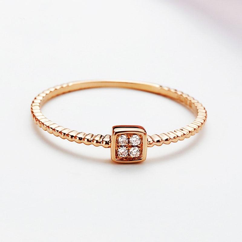 Твердое кольцо AU750 квадрат из розового золота 0.032CT обручальное кольцо