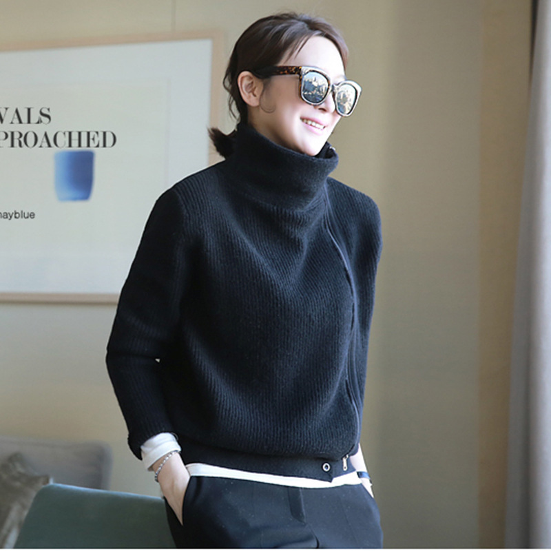 GejasAinyu 2018Autumn Winter New turtleneck cardigan women Cashmere sweater Cardigan knitting winter sweater women tops coat
