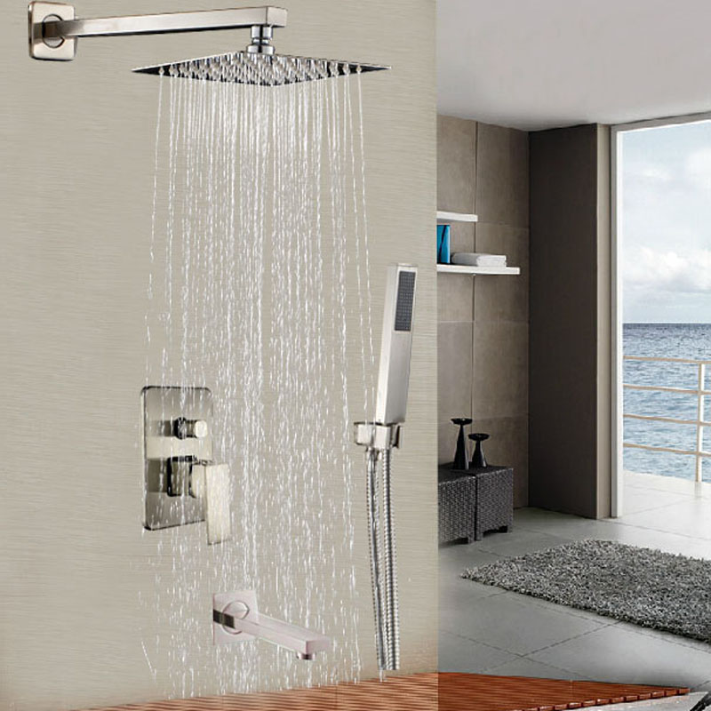 Stainless Steel 16 Rainfall Shower Head Tub Shower Faucet Single Handle with Hand Shower Mixer Taps