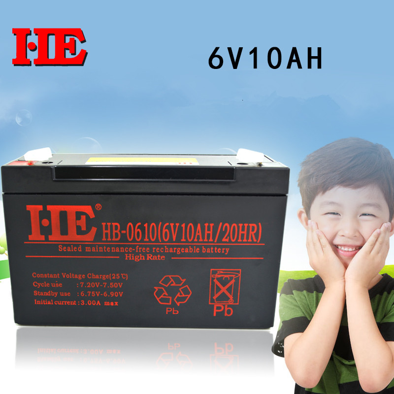 HE 6V rechargeable lead acid storage battery child toy car battery 10ah 20hr for fire emergency lights baby carrier 151x50x94mm
