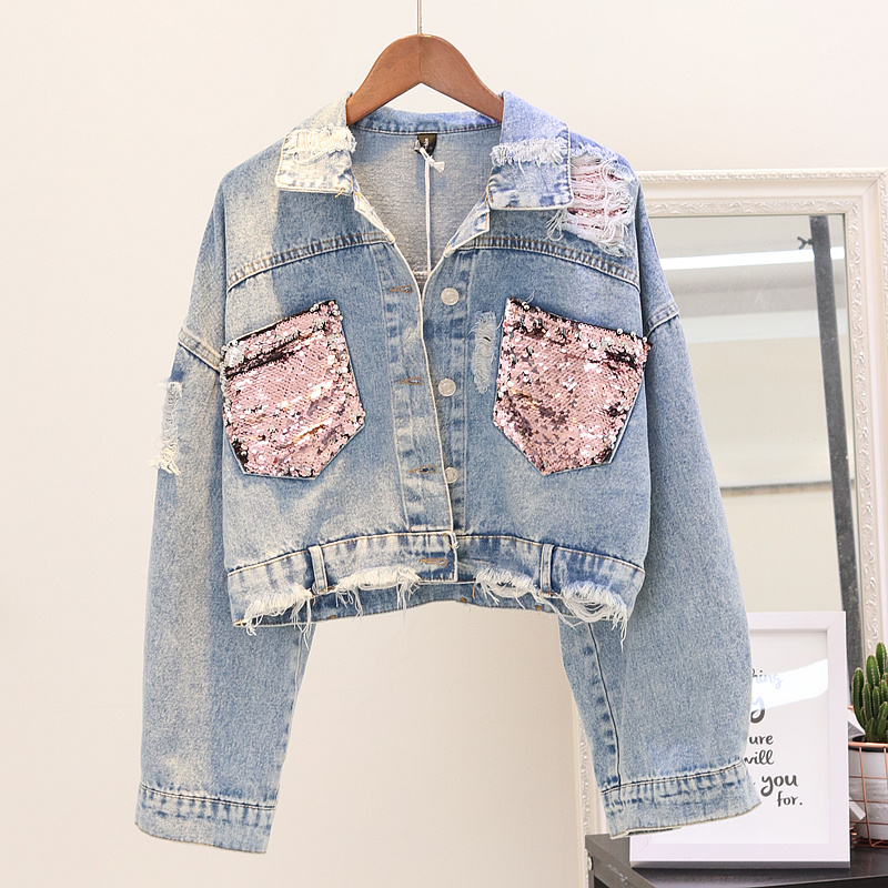 2018 Spring Autumn Jacket Women Denim Sequin Sleeve Women Denim Long Jacket Coat Crop Tops Bomber Denim Jacket YQ154