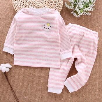 Новинка для мальчиков и девочек в полоску Одежда с длинным рукавом Хлопок комплекты для малышей MN1-MN11
