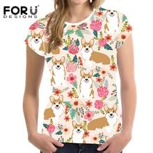 FORUDESIGNS Cute Cartoon Corgi Print Women T Shirt Ladies Flower Pattern Fresh Style T-shirt for Girls Floral Tee Shirt Summer cards floral print tee shirt