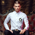 Free Shipping New arrivals 2016 man's male fashion casual slim white iron chest embroidery Mens Long Sleeve Shirt 2149 FanZhuan