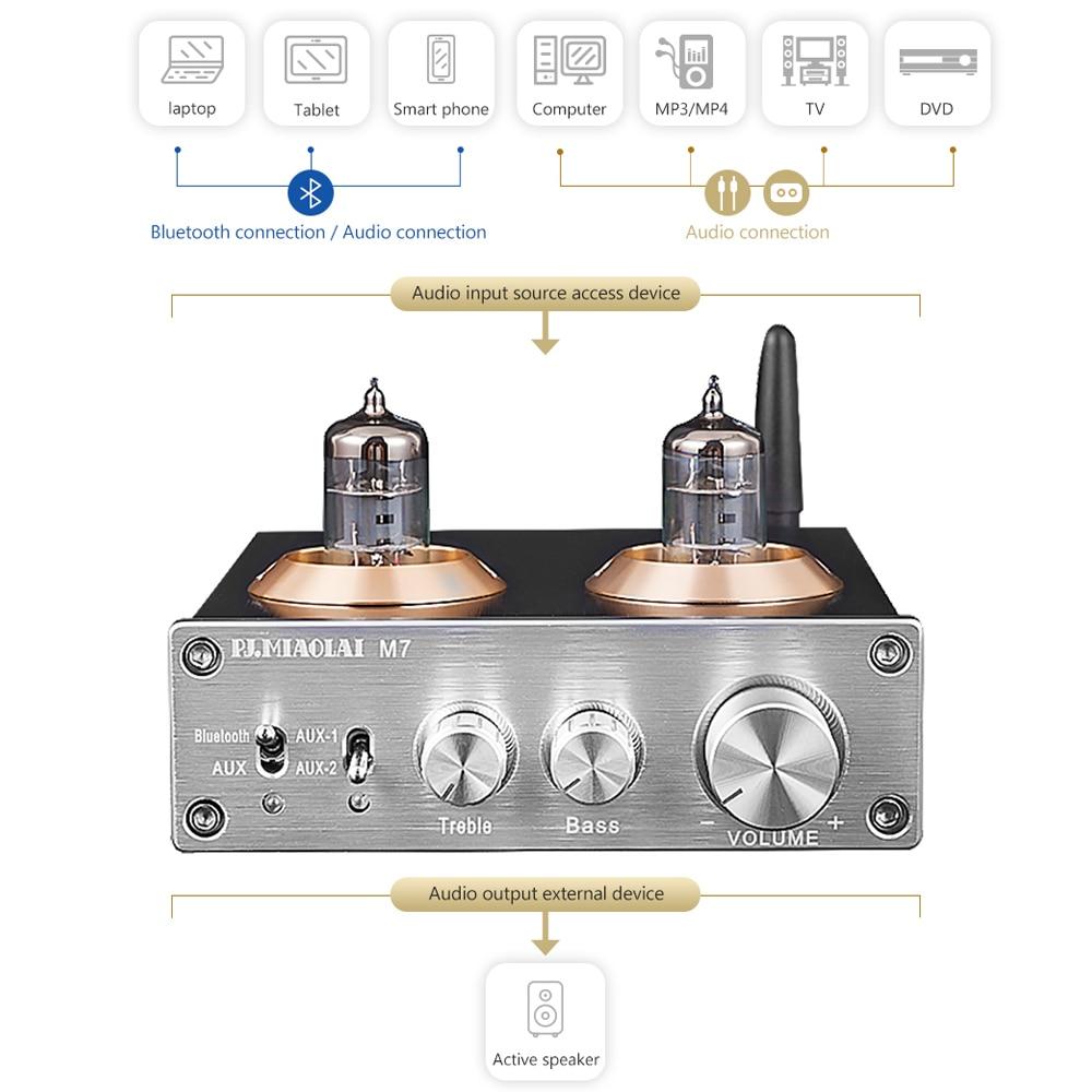PJ MIAOLAI CSRA64215 Bluetooth 4 2 ES9023 HIFI 6J1 Vacuum Tube Amplifier  Stereo Preamplifier With Treble Bass Tone Control