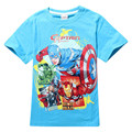 2017 New Summer Children's Clothes Cotton Short Sleeve T-shirt Kids Boy Tee Captain America Cartoon Color Blue sz 3-10 years