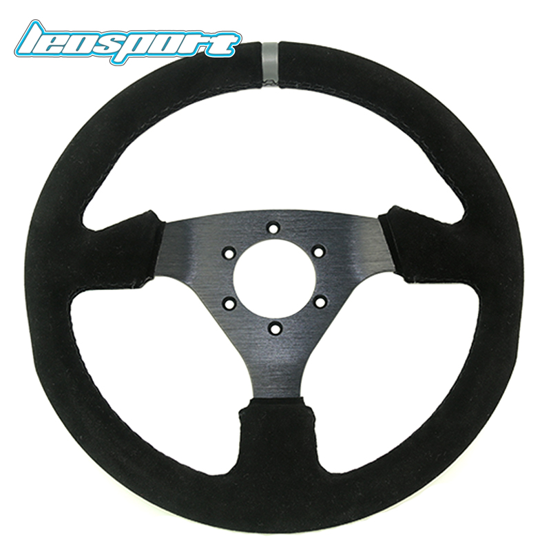 Free shipping 13 (330mm) Steering Wheel Suede Leather black Sutures Steering Wheel Flat Racing Steering Wheel free shipping rc boat steering wheel double water inlet aluminium alloy steering wheel rudder 160mm 502b52 a