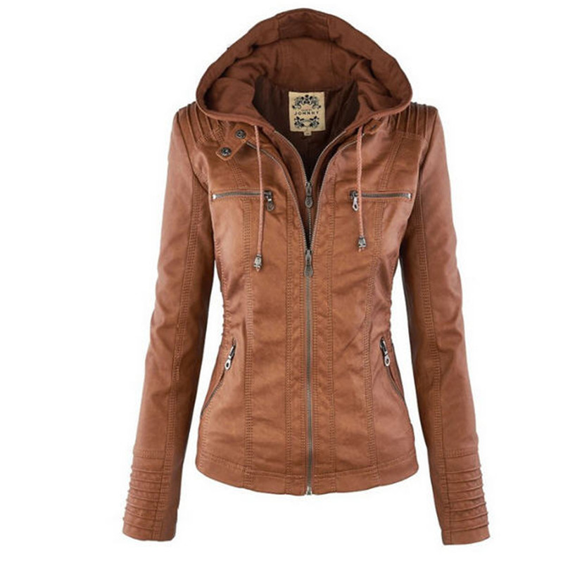 Leather   Jacket Women Detachable Hood Slim Windproof Jackets Autumn Fashion PU   Leather   Zipper Outerwear Jackets Coat A1377