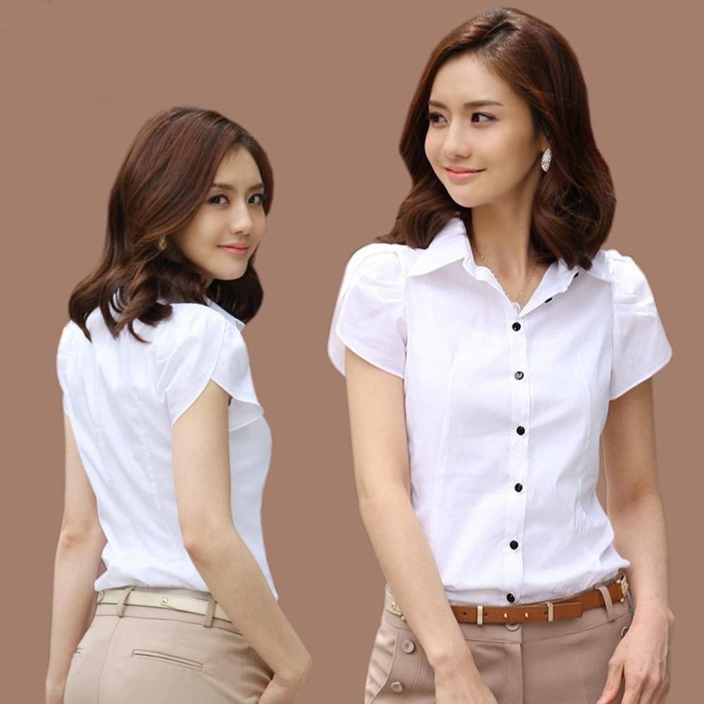 Women Blusas Mujer De Moda 2018 Femininas Tops Short Sleeve Elegant Office Plus Size Career Shirts Tops Lapel Black White Blouse