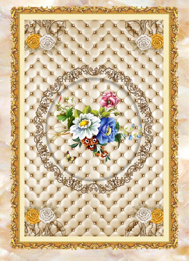 ФОТО High-end 3d floor flowers pattern wallpaper 3d floor tiles waterproof self-adhesive wear non-slip flooring wallpaper