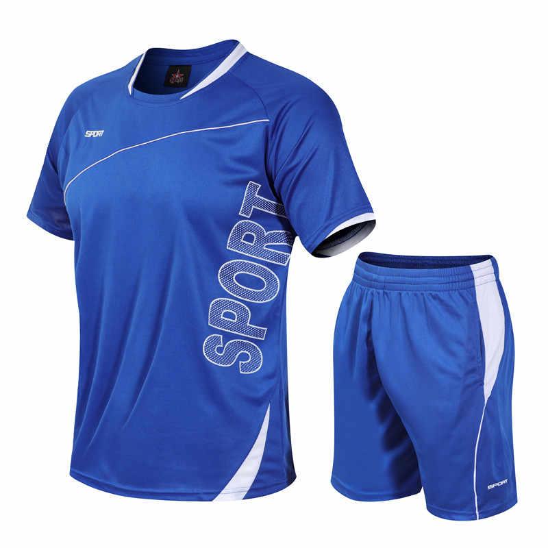 Летний спортивный костюм, мужской костюм для фитнеса, шорты с короткими рукавами, костюм, Мужская однотонная спортивная одежда с круглым вырезом, комплект из двух предметов, M-4XL 2019, повседневные мужские комплекты