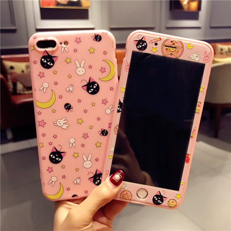 For iPhone 6 6plus Sailor Moon phone Cases + Tempered Glass Screen film For iphone 6 6s 6Splus PInk case Cartoon <font><b>Luna</b></font> cat case image