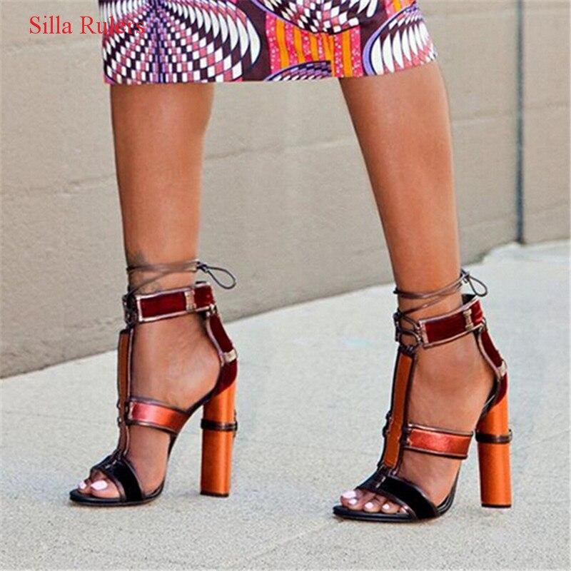 Sexy Denim cuir Patchwork femmes sandales multicolore t-strap Cage gladiateur sandales femmes talons hauts pompe chaussures femme Sandalias