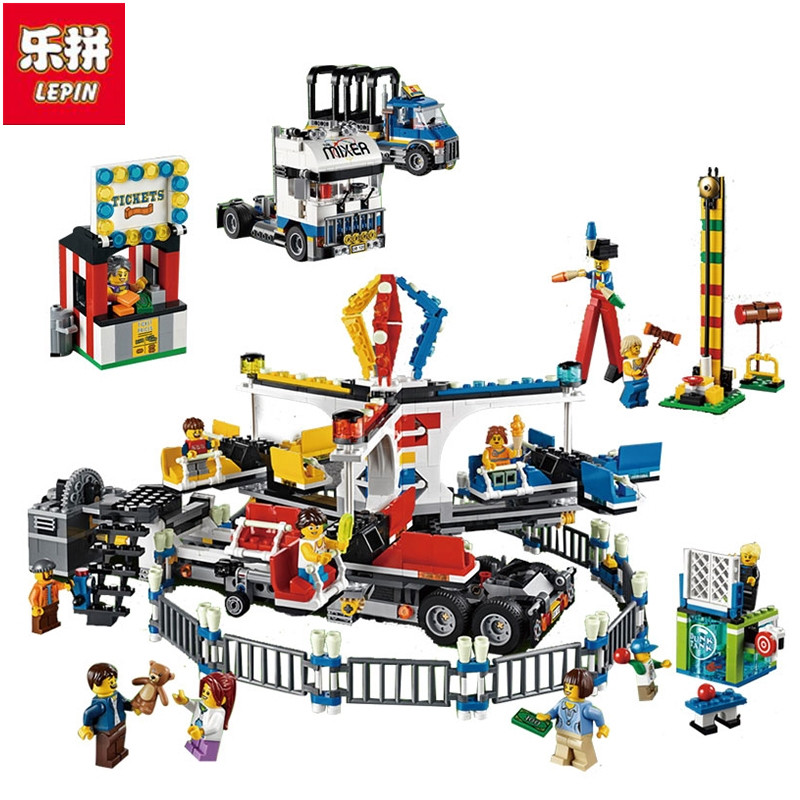 Lepin New 15014 Genuine Creator Street Series The Amusement Park Giant Stride Carnival Set Building Blocks Bricks Toy a toy a dream lepin 15008 2462pcs city street creator green grocer model building kits blocks bricks compatible 10185