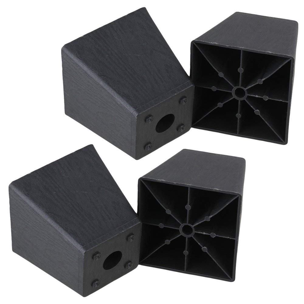 Black Plastic Trapezoid Sofa Couch Furniture Legs Feet 97 X 98 X 65mm  Pack Of 4