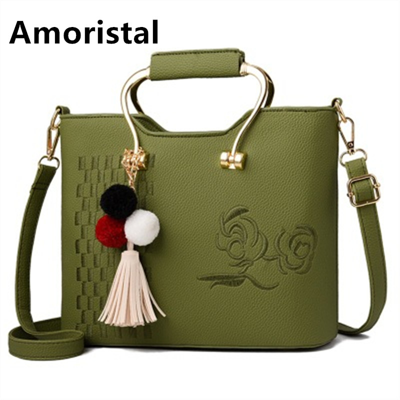 Embroidery Large Capacity Bag Vintage Women Leather Handbags Luxury Brand Bags Female Tote Bags Sac Main Women Shoulder Bag B029 2018 fashion women handbags tassel knitting bags luxury brand female totes bag large capacity shoulder bags bolsas feminina sac