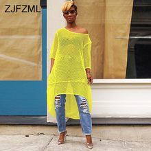 Fishnet Cut Out Sexy Loose Dress Women One Shoulder Half Sleeve See Through Dress Summer Neon Green Front Short Back Long Dress black cut out cold shoulder half sleeves dress