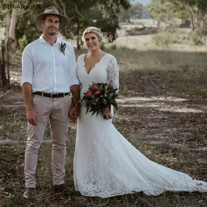 Plus Size Simple Wedding Dresses V Neck Lace Sweep Train 3/4 Sleeve Mermaid Wedding Dress Custom Made Country Bridal Gown