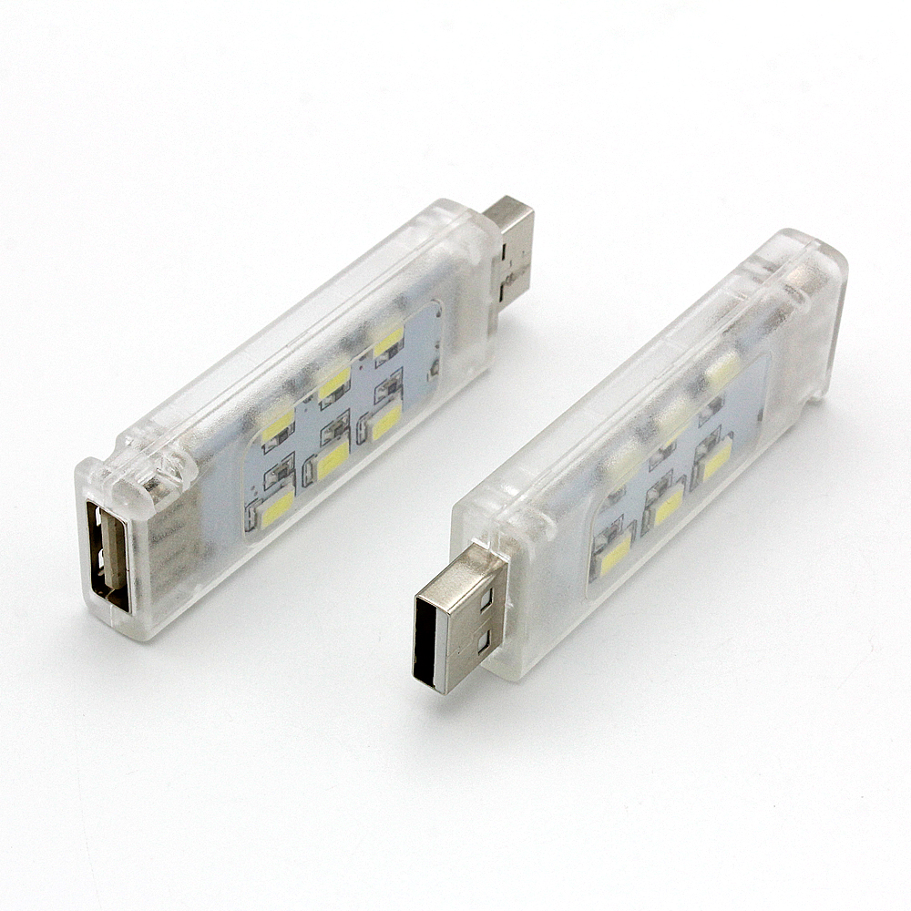 1pcs Mini Double Sided USB LED Night Light SMD 5730 12LEDs 5V Lamp for Reading Notebook Power Bank Computer Laptop PC Gadget
