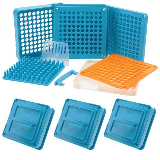 Máquina para fabricar polvos y cápsulas con 4 tipos de 100 agujeros, n. ° #1 #0 00, placas esparcidoras, cápsulas para rellenar Manual, herramienta azul