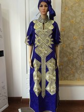 2016 new fashion design african bazin riche material embroidery dress 1.6 long