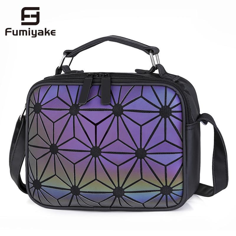 Women Plaid Hand Bag Geometric Luminous Handbag Shoulder Bags Casual Clutch Totes Laser Crossbody Bags Women Messenger Bag Bolsa