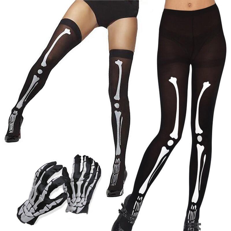Adult Women Halloween Scary Skeleton Bone Print Costume Accessory Horror Pantyhose Tights Stockings Socks Gloves For Ladies