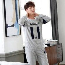 Высокое качество весенние мужские пижамы с длинным рукавом мужской комплект одежды для сна хлопковая одежда для сна для мужчин удобная домашняя одежда