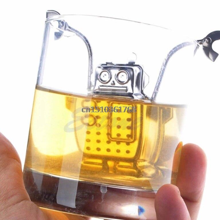 Creative Robot Tea Leaf Diffuser Infuser Stainless Strainer Herbal Spice Filter #C05# deep tea diver infuser scuba diving herbal loose leaf silicone filter strainer