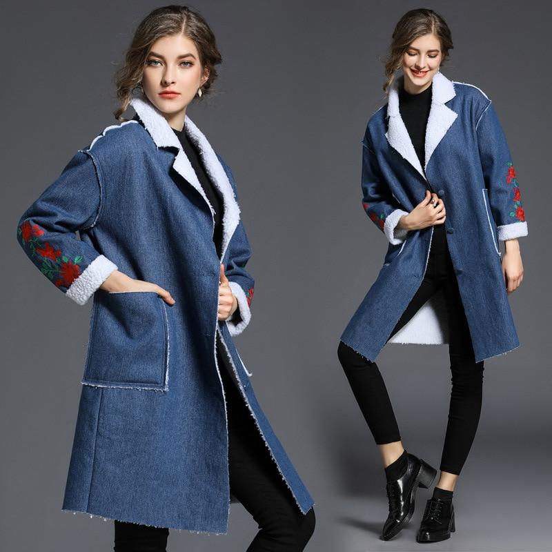 Bas Tournent De Hiver Manteaux Le Poches Plus Velours Cowboy Broderie Vers Polaire Lâche Automne Haute Couture Jeans Tranchée Femelle Femmes Bleu 54AR3jL