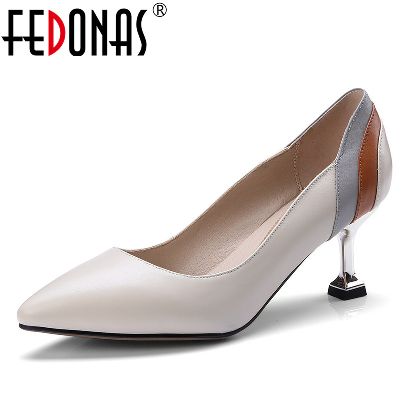 FEDONAS Women Natural Genuine Leather High Heel Fashion Dress Sexy Pointed Toe Wedding Party Shoes Woman Stilettos Pumps free shipping 4kg lot c m b y compatible oki c9600 9650 9800 9850 color toner powder