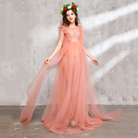 Fashion Maternity Dresses Photography Props Voile Maternity Long Dress Pregnant Photography Dresses With Flowers