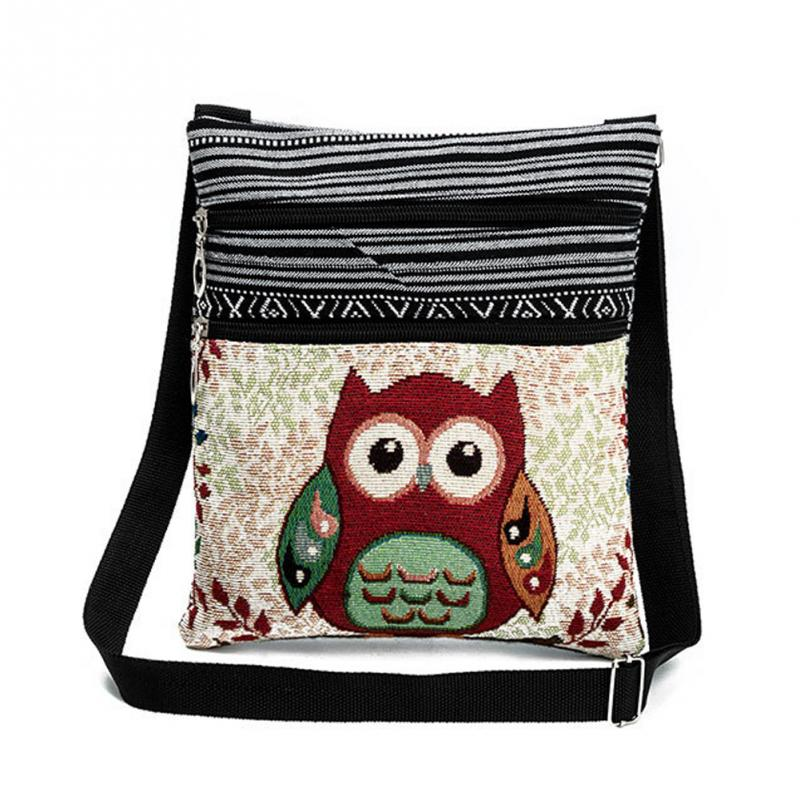 Canvas Crossbody Bag For Women Vintage Double Zipper Owl Printed Shoulder Bag Female Small Messenger Bag Ethnic Style