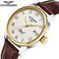 GUANQIN Mechanische Automatische business gold Herren Uhren Top Brand Luxus Leder armbanduhr uhr 008815 Relogio Masculino EIN
