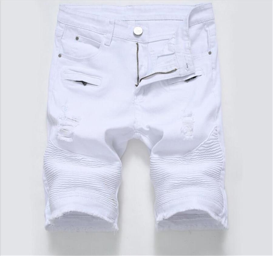 Summer Ripped Biker Jeans Shorts Men Bermuda White Black Denim Shorts For Male Stretch Fashion Zipper Shorts Masculino