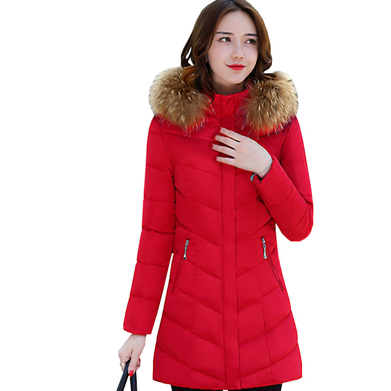 Women Thick Parkas 2017 Winter Hooded Fake Fur Collar Coats Slim Fashion Pockets Zippers Casual Long Jacket Snow Wear RE0056 snow wear 2017 high quality winter women jacket cotton coats fur collar hooded parkas fashion long thick femme outwear cm1346
