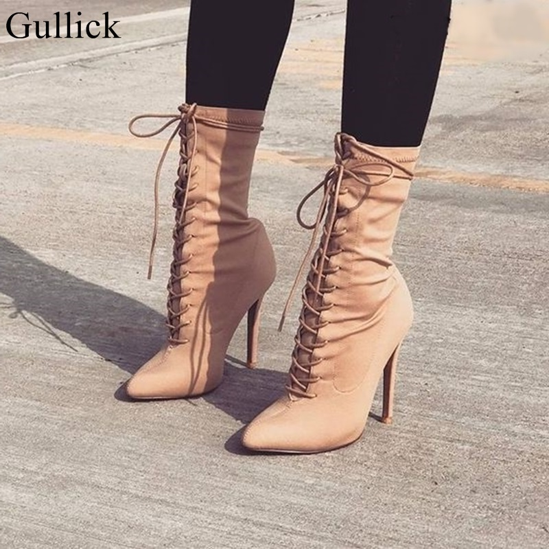 Gullick <font><b>Beige</b></font> Cross Strap Ankle Boots Women <font><b>Sexy</b></font> Pointy Stiletto Heel <font><b>Lace</b></font> Up Ankle Boot Concise Strappy <font><b>Dress</b></font> Shoes Big Size 10 image