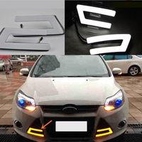 2 шт. светодиодные дневные ходовые огни DRL приводная лампа желтая для Ford Focus 2012-14