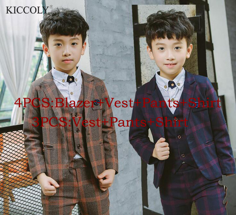 2017 Gentleman Style Lattice Boy's Formal Suits Spring Blazer+Shirt +Vest+Pants 4 Pcs/Set Children Clothing Sets for Wedding