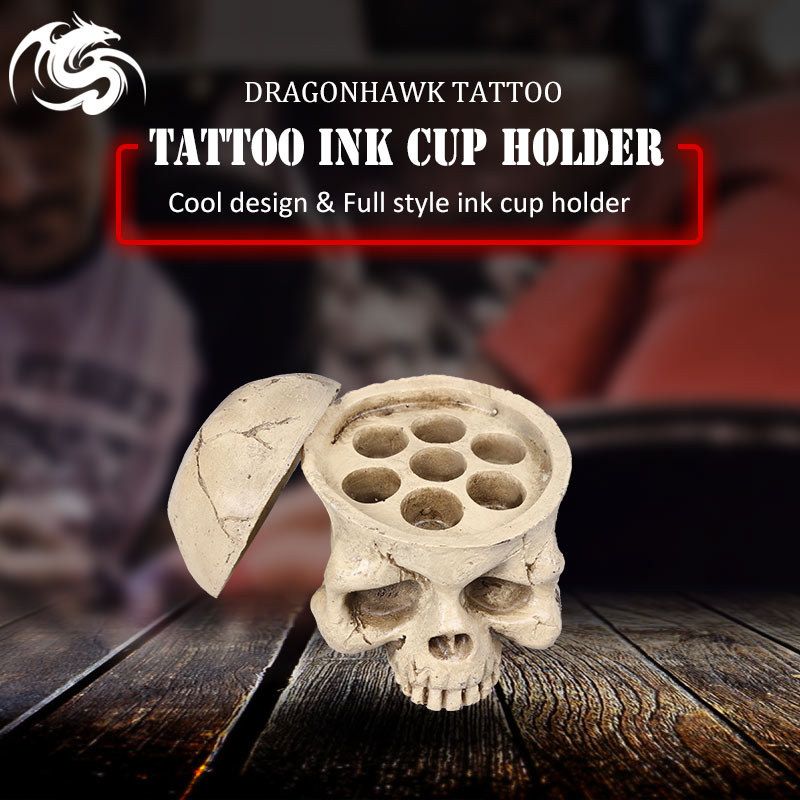 New Premium Cyan Skull Tattoo Ink Cap Cup Holder|tattoo ink caps|ink capstattoo ink cup holder - AliExpress