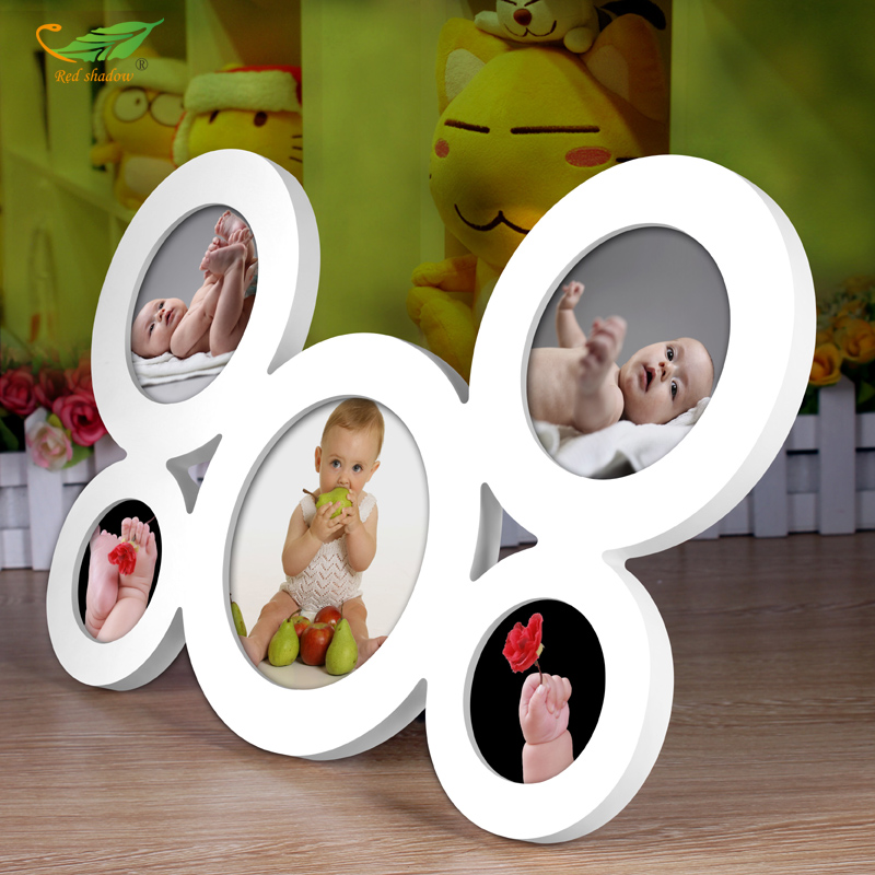 5pcs set Connect Baby Photo Frame Circular Wood Pictures Frames ...