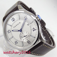 цена Luxury 42MM PARNIS Automatic Self-Wind Mechanical watches Date White dial Luminous hands Leather strap men's watch онлайн в 2017 году