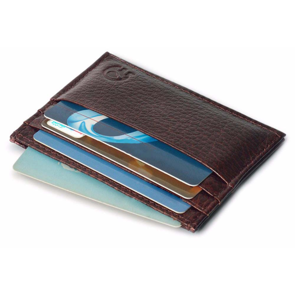 Vintage Slim Mini Leather Credit ID Card Holder Wallet Lichee Pattern Solid Color Card Wallet Purse Bag Pouch Book Cover Case