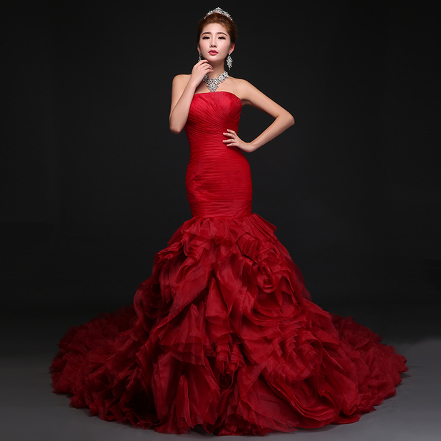 2016 Romantic Design Red Rose Wedding Dresses Flat Shoulder Backless Sexy Mermaid Bridal Gowns Vestido De Noiva