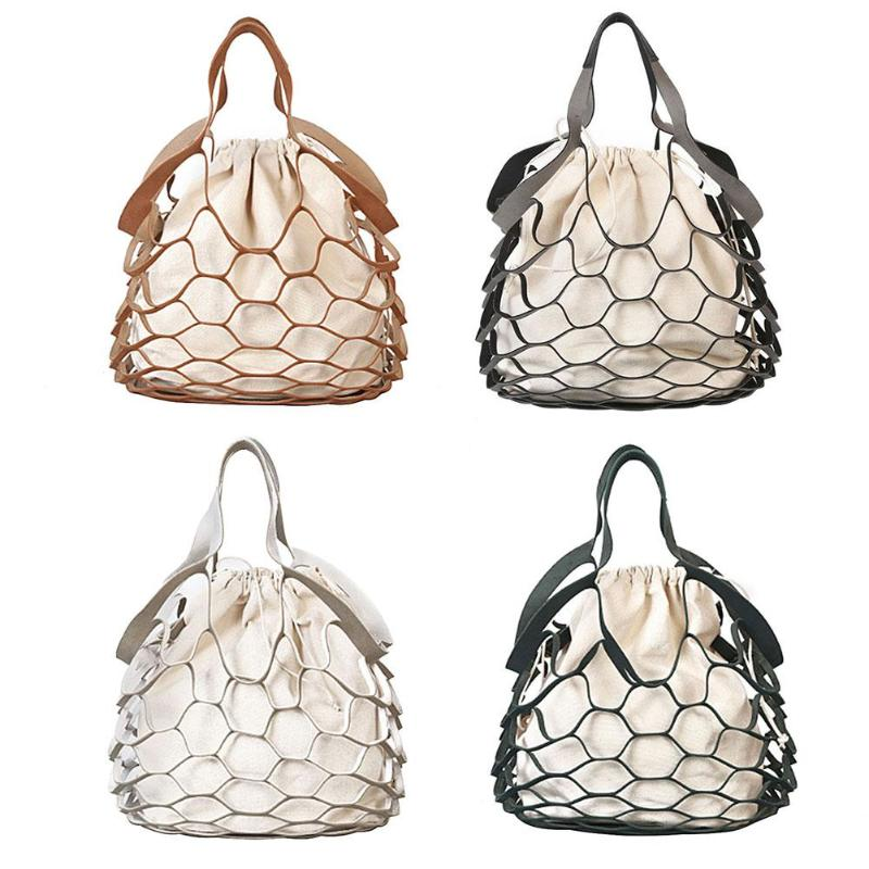 2Pcs Summer Hollow Out Mesh Design Canvas Handbags Holiday Tote Beach Bags Net Shopping Bag String Bucket