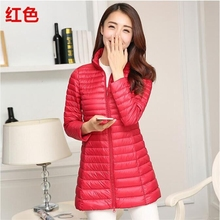 Autumn Winter Casual Coat Parkas for Women Female Snow Warm Jacket Long Thin Duck Down Laides Sleeve