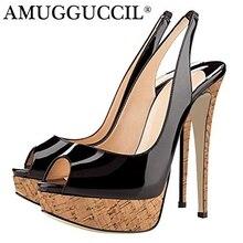 2019 New Plus Big Size 35-52 Black Nude Apricot Red Fashion Sexy High Heel Platform Summer Female Ladies Women Sandals L985