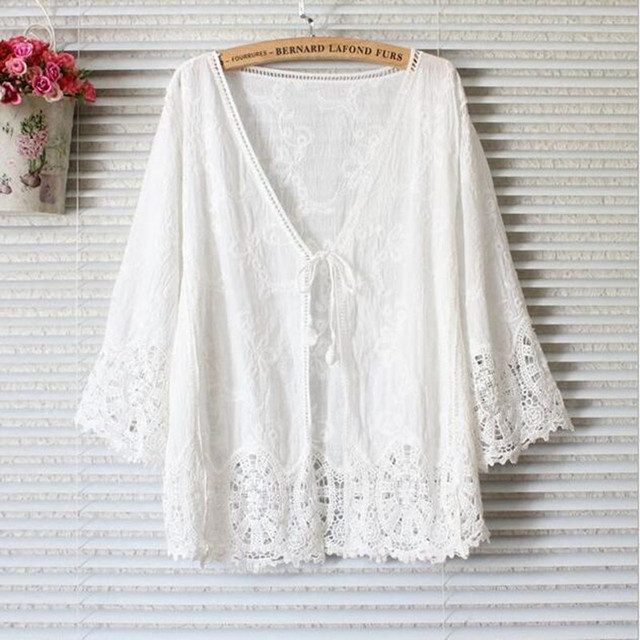 Le Couple Summer fashion lace maternity clothes tops hollow out 2016 cotton pregnancy clothes tops