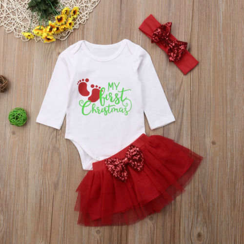 e21b6bffc91bb My 1st Christmas Baby Girls Princess Romper+Tutu Skirts Dress Outfit  Clothes Set